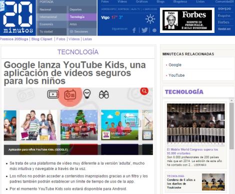 Google lanza YouTube Kids  una aplicación de vídeos seguros para los niños   20minutos.es