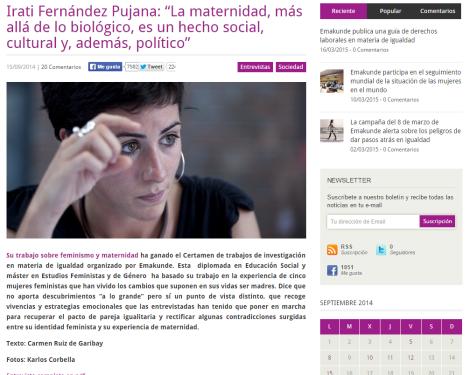Irati Fernández Pujana   La maternidad  más allá de lo biológico  es un hecho social  cultural y  además  político    Revista Emakunde Aldizkaria